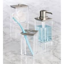 Bathroom Canisters Amazon Com Interdesign Clarity Canister For Beauty Products