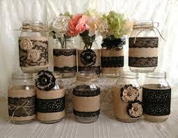 Mason Jar Vases For Wedding 10x Rustic Burlap And Black Lace Covered Mason Jar Vases Wedding