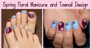 spring floral manicure and toenail design youtube