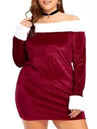 christmas plus size off the shoulder velvet dress red white xl