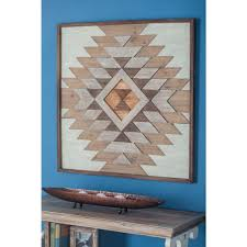 32 in x 32 in rustic geometric patterns wooden wall decor in