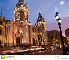 catedral on plaza de armas plaza mayor lima peru stock images