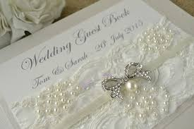 vintage wedding guest book luxury ivory lace personalised wedding guest book creative bridal