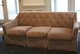 custom slipcovers for sofas custom slipcovers by shelley gray linen waterfall skirt