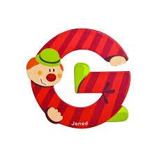 janod wooden letter g clown design jack and jill kidswear