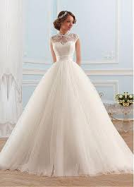 wedding dress discount buy discount glamorous tulle high collar neckline gown