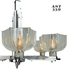 art deco streamline early modern 6 arm french chandelier circa
