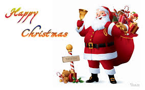 happy christmas santa claus with gifts
