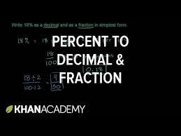percent to decimal converting percents to decimals fractions exle khan