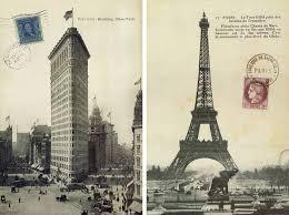 Eiffel Tower Garden Decor Eiffel Tower And Flatiron Building Postcard Canvas Frameless