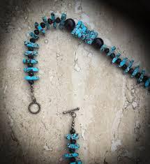 turquoise blue stone necklace images Turquoise jewelry chip stone necklace black agate necklace jpg