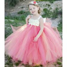shabby flowers coral ivory flower girl dress with ivory shabby flowers