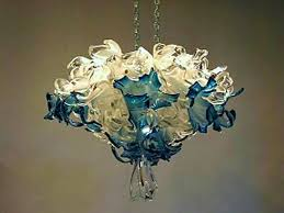 Teal Glass Chandelier Crystal Blue Blown Glass Chandelier Artisan Crafted Lighting