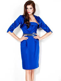 strapless short royal blue satin cocktail party evening dress with