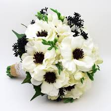 silk corsages reserved white anemone black center wedding bouquet white silk