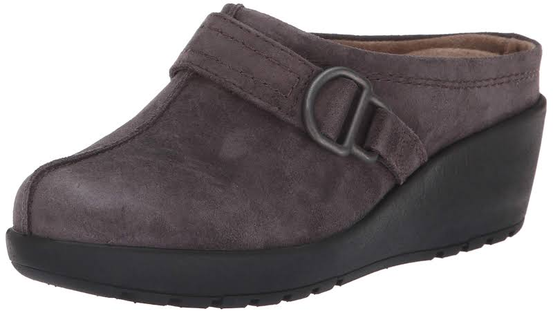 Easy Spirit Jig Suede Round Toe Clogs Gray 10 Medium (B,M)
