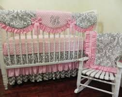 gray crib bedding etsy