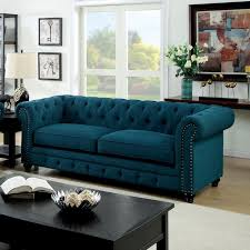 chesterfield teal fabric inspired rolled arms button tufted sofa w