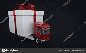 presents delivery presents delivery service concept truck with a gift box 3d
