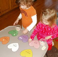 little stars learning color hearts sorting