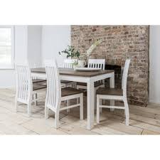 hever dining table with 6 chairs in white and dark pine noa u0026 nani