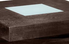 finish square shape modern coffee table w glass inlay