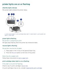 Printer Resume Printer Lights Are On Or Flashing Hp Deskjet 5650 User Manual