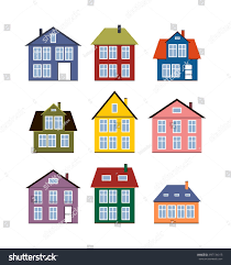 house set flat icons different houses stock vector 397134313