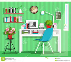 modern graphic home office interior design flat style vector set