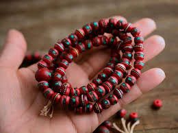 red prayer bead bracelet images Deep red 8mm yak inlaid bone beads from nepal nature beads jpg