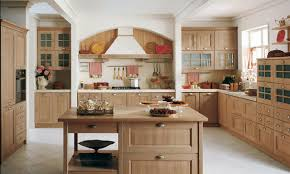 u shaped solid knotty pine wood kitchen cabinets country cottage