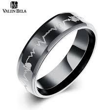 black mens wedding band aliexpress buy valen bela heart rate black