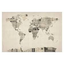 vintage postcards world map by michael tompsett ready to hang