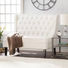 linklea high back tufted settee bench ivory sofas seating image