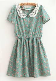 blue flowers falbala lapel cap sleeve cotton dress midi dresses