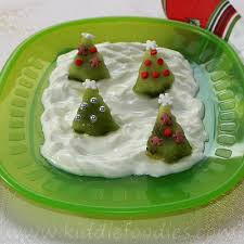 christmas trees dessert made of kiwi and yogurt kiddie foodies
