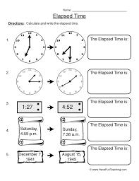 elapsed time telling time worksheet 3