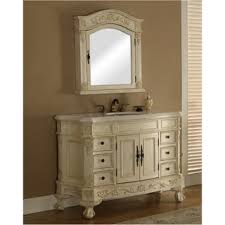 Antique Looking Vanities Carrara White Marble Top Single Sink Bathroom Vanity In Antique