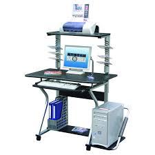 Compact Computer Desk Furniture U0026 Rug Techni Mobili Graphite U0026 Frosted Glass L Shaped
