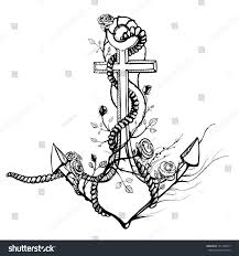 anchor roses black ink stock vector 141728917