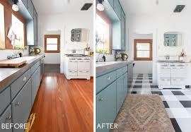 how to cut ceramic tile around kitchen cabinets a diy kitchen transformation using vinyl floor tiles a