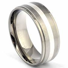 mens titanium wedding ring mens titanium ring silver inlay wedding band