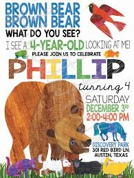 eric carle invitations brown bear brown bear birthday invitation