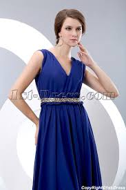 elegant royal blue v neckline chiffon evening dress with belt 1st