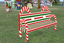 second life marketplace christmas candy cane bench