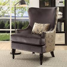 Damask Chair Furniture Of America Floreda Traditional Dark Grey Flannelette And