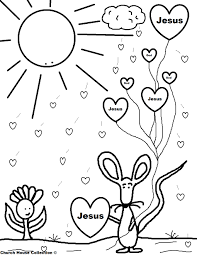 jesus with heart valentine coloring page