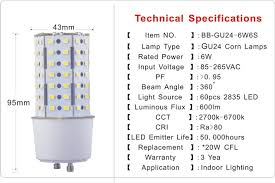 Gu24 Led Light Bulb Gu24 Base 6w Led Corn Light Bulb Supply High Quality 360 Deg Small