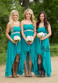 2016 turquoise high low country style bridesmaid dresses strapless