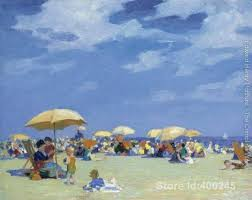 oil painting beach scene beach at far rockaway edward henry potthast artwork on canvas handmade high